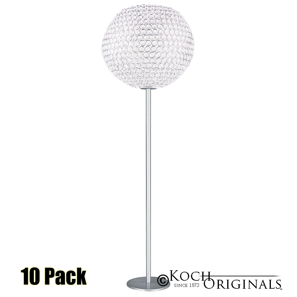 Tabletop Crystal Ball Candelabra - 36'' Tall - 12'' Ball - 10 Pack - Frosted Silver w/ Clear Crystals