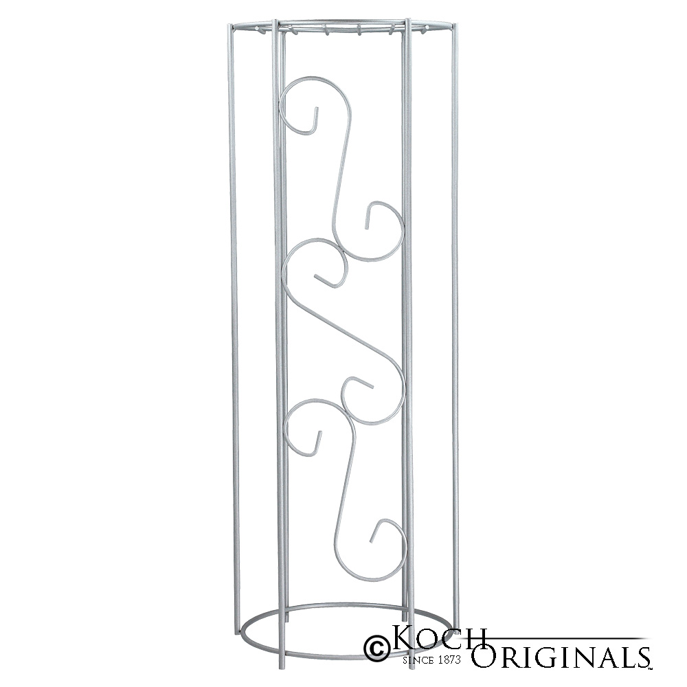 Metal Decorative Column - 38'' Height - Frosted Silver