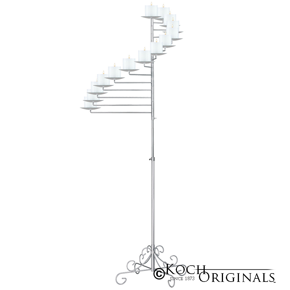14-Light Spiral Candelabra - Pillar Style - Frosted Silver
