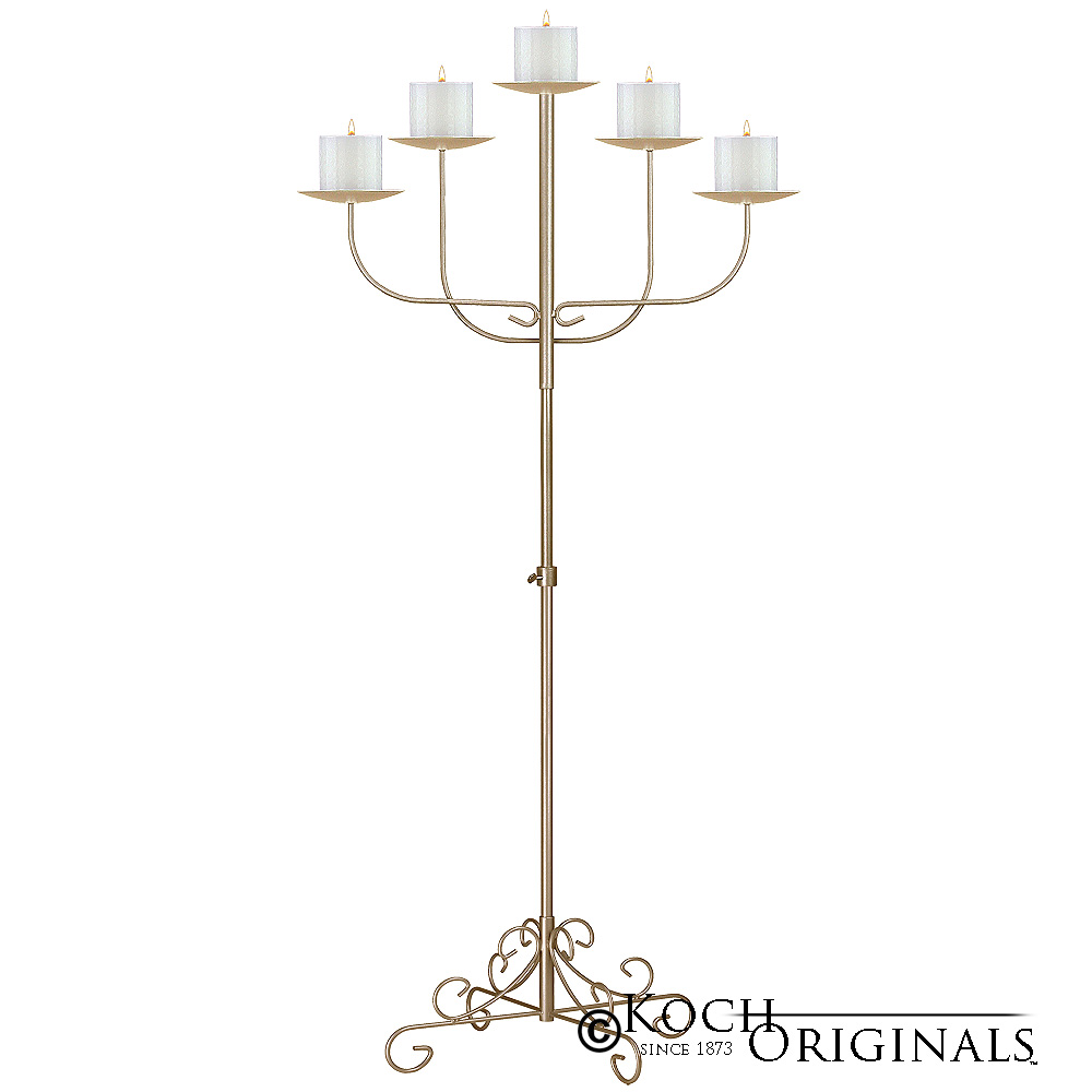 5-Light Fan Floor Candelabra - Pillar Style - Gold Leaf