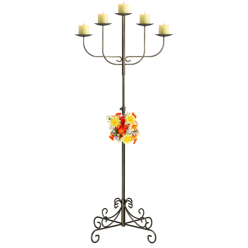 5-Light Fan Floor Candelabra - Pillar Style - Onyx Bronze