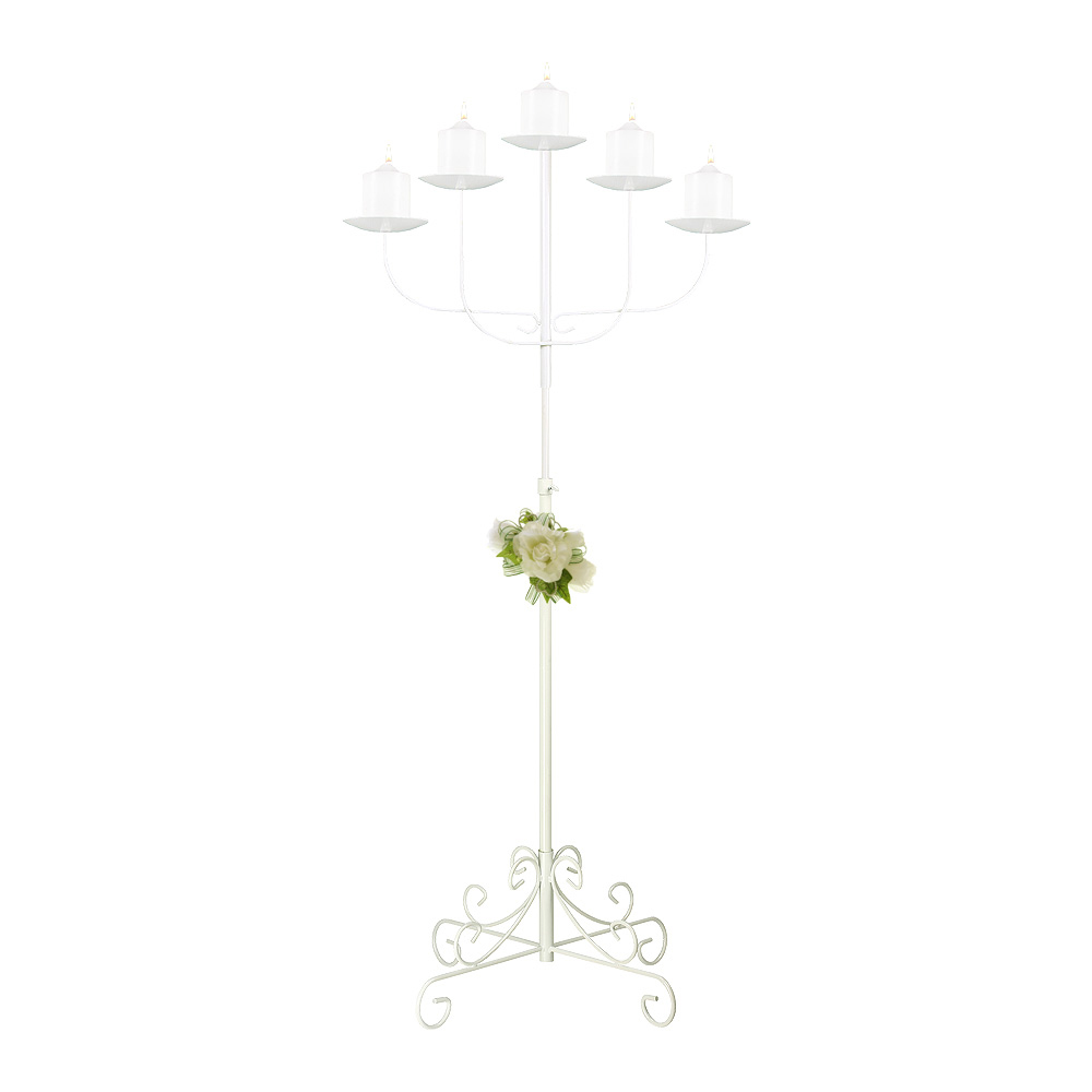 5-Light Fan Floor Candelabra - Pillar Style - White
