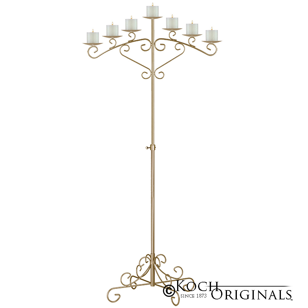 7-Light Fan Floor Candelabra - Pillar Style - Gold Leaf