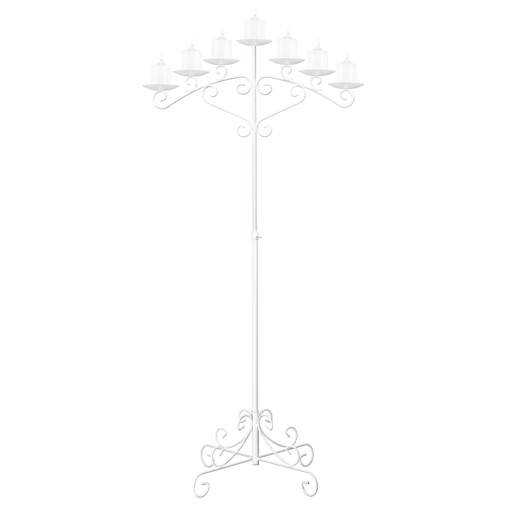 7-Light Fan Floor Candelabra - Pillar Style - White
