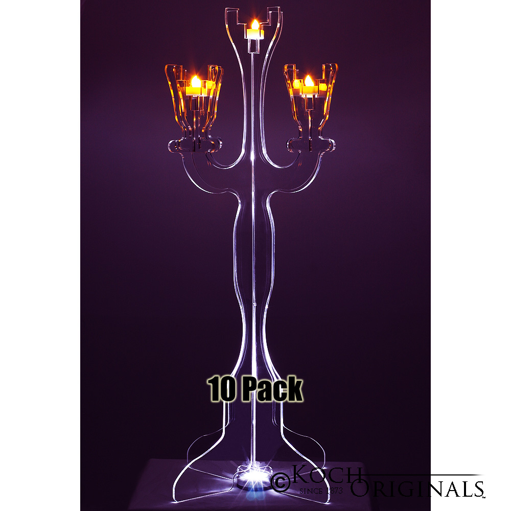 Illuminate Viewpoint Tabletop Candelabra - 10 Pack - 34'' Tall, 5 Light
