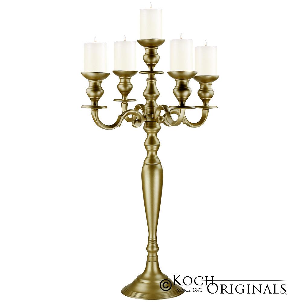 Hierarchy tabletop candelabra  light gold leaf