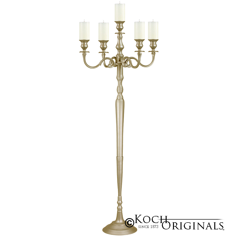 Hierarchy Floor Candelabra - 70'' - 5 light - Gold Leaf