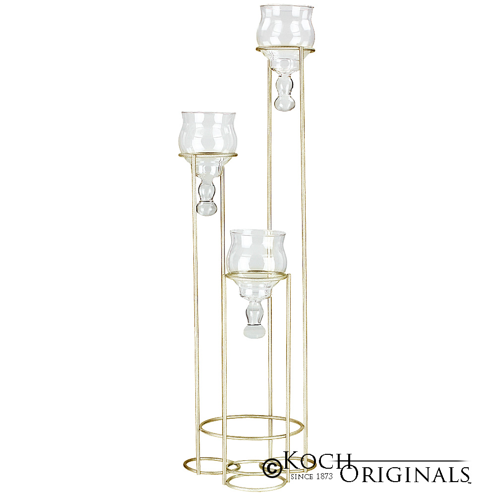 3-Light Teardrop Centerpiece Candelabra - Gold Leaf