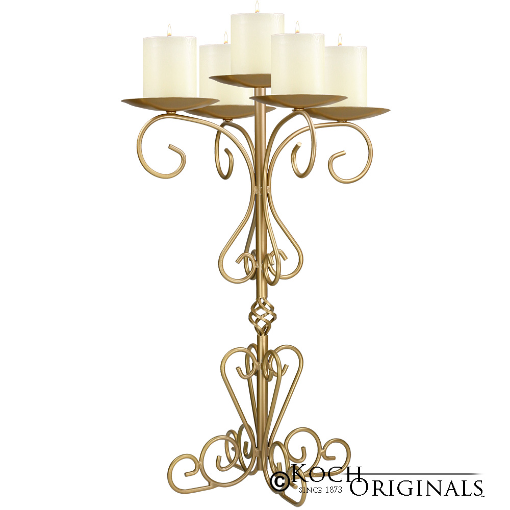 36'' Tall Old World Tabletop Candelabra - Pillar Style - Gold Leaf