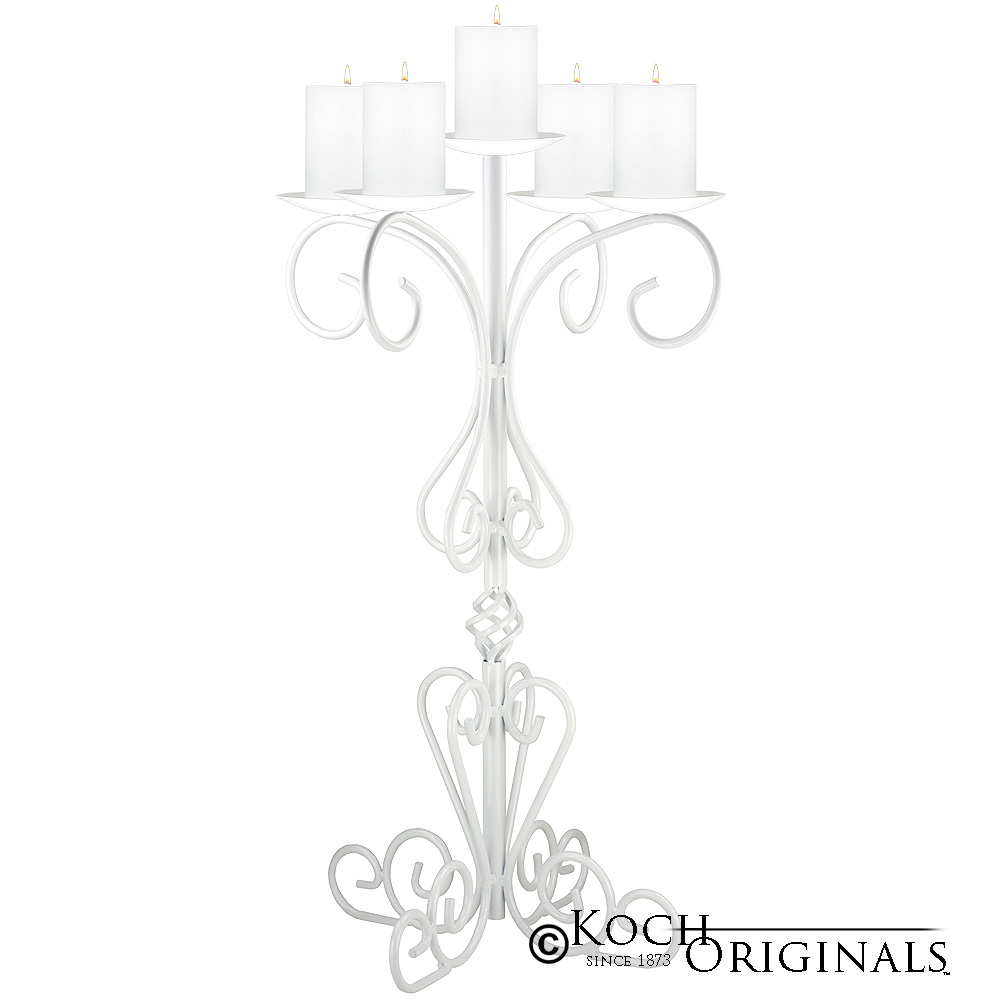 36'' Tall Old World Tabletop Candelabra - Pillar Style - White