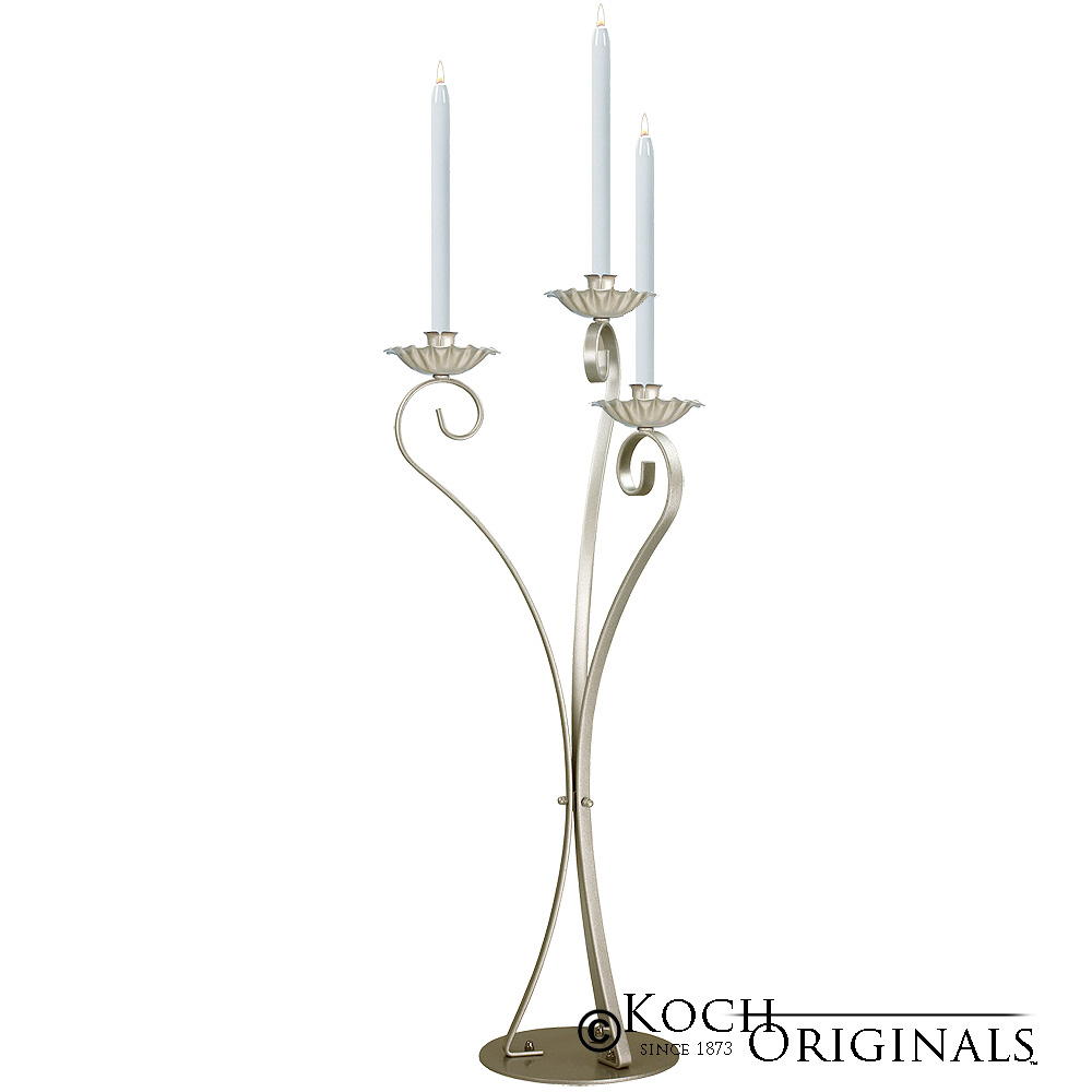 3-Light Swan Candelabra - Traditional Style - Gold Leaf