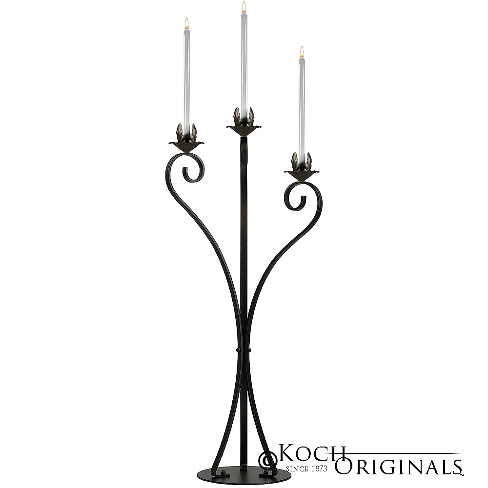 3-Light Swan Candelabra - Traditional Style - Onyx Bronze