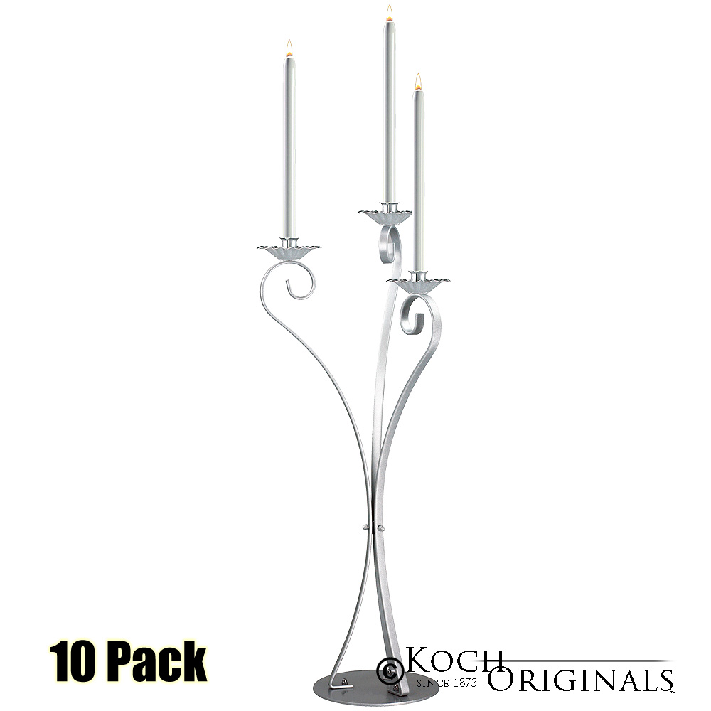 3-Light Swan Candelabra - Traditional Style - 10 Pack - Frosted Silver