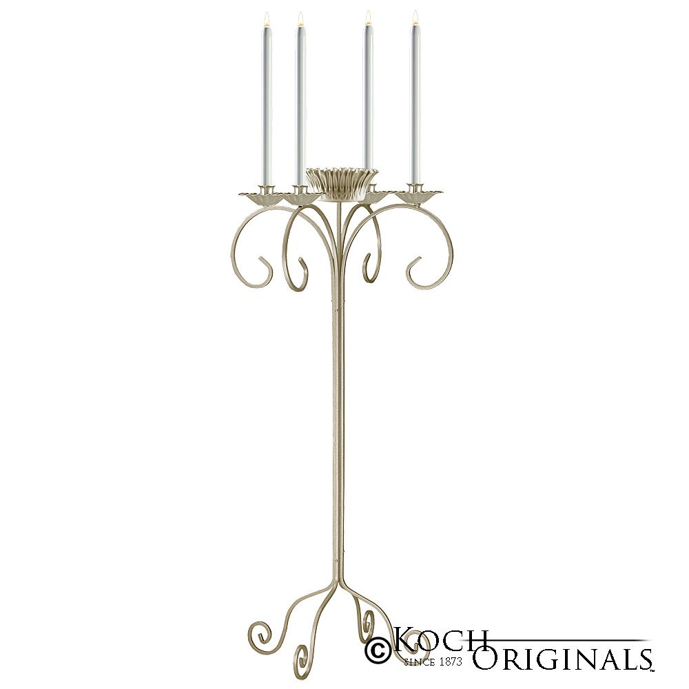 32'' Tall Tabletop Candelabra w/ Flower Bowl - Gold Leaf