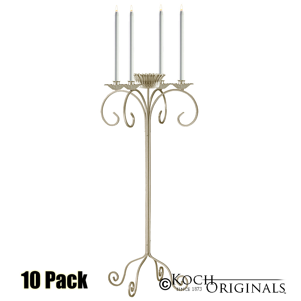 32'' Tall Tabletop Candelabra w/ Flower Bowl - 10 Pack - Gold Leaf