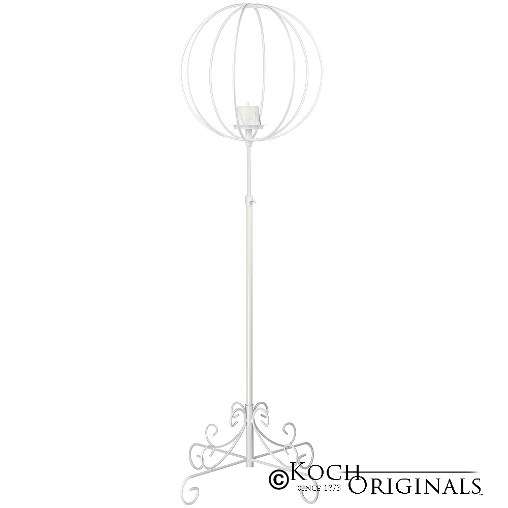 Topiary Ball Candelabra - Large - White