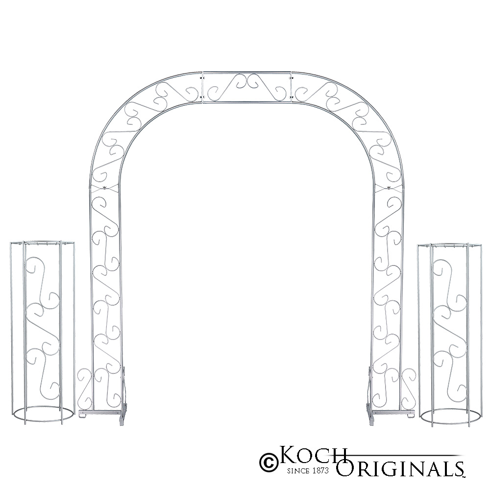 Wedding Arch w/ Two Columns & Extender - 92'' - Frosted Silver