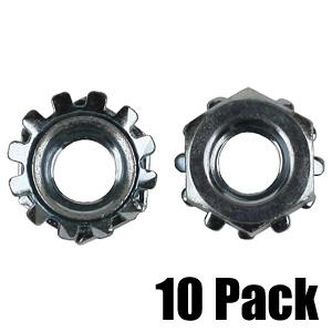 K-Lock Nut - 1/4'' - Zinc - 10 Pack