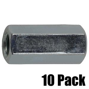 1/4'' x 7/8'' Pillar Coupling Nut - 10 Pack