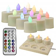 Rechargable LED Candle - Multi-Colored w/ Remote and Recharge Pad (6 pcs.) - 12 pcs.