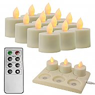 Rechargable LED Candle - Single-Colored w/ Remote and Recharge Pad (6 pcs.) - 12 pcs.