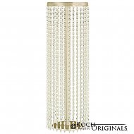 Tabletop Crystal Column - 25'' Tall - Gold Leaf w/ Clear Crystals