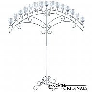 15-Light Fan Floor Candelabra - Teardrop Style - Frosted Silver