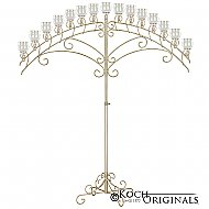15-Light Fan Floor Candelabra - Teardrop Style - Gold Leaf