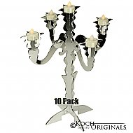 Illuminate Glow Tabletop Candelabra - 10 Pack - 17'' Tall, 5 Light - Mirror Finish