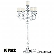 Elegance Candelabra - 40'' - 5 light - 10 Pack - Frosted Silver