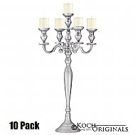 Hierarchy Candelabra - 40'' - 5 light - 10 Pack - Frosted Silver