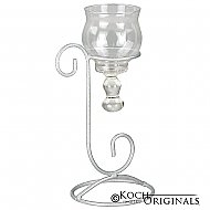 1-Light Teardrop Centerpiece Candelabra - Frosted Silver