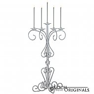 36'' Tall Old World Tabletop Candelabra - Frosted Silver