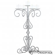 36'' Tall Old World Tabletop Candelabra - Pillar Style - Frosted Silver