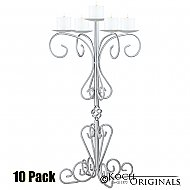 36'' Tall Old World Tabletop Candelabra - Pillar Style - 10 Pack - Frosted Silver