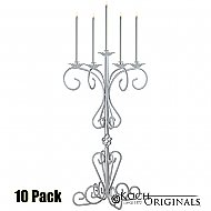 36'' Tall Old World Tabletop Candelabra - 10 Pack - Frosted Silver