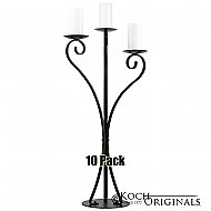 3-Light Swan Candelabra - Pillar Style - 10 Pack - Onyx Bronze