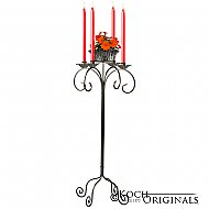 32'' Tall Tabletop Candelabra w/ Flower Bowl - Onyx Bronze