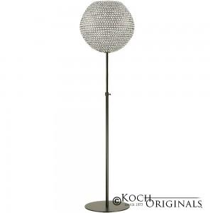 Crystal Ball Floor Candelabra - Adjustable Height - 18'' Ball - Onyx Bronze w/ Clear Crystals