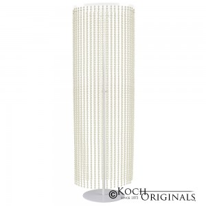 Crystal Column - Adjustable Height - White w/ Clear Crystals