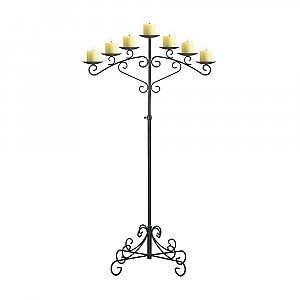 7-Light Fan Floor Candelabra - Pillar Style - Onyx Bronze