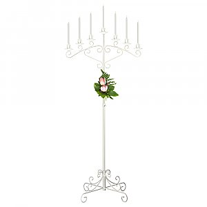 7-Light Fan Floor Candelabra - White