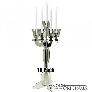 Illuminate Viewpoint Tabletop Candelabra - 10 Pack - 34'' Tall, 5 Light - Mirror Finish