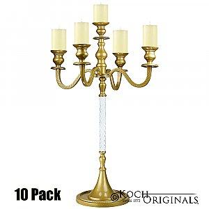 Elegance Tabletop Candelabra - 30'' - 5 light - 10 Pack - Gold Leaf