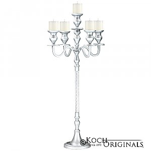 Elegance Candelabra - 40'' - 5 light - Frosted Silver