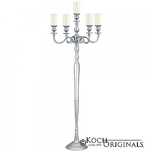 Hierarchy Floor Candelabra - 70'' - 5 light - Frosted Silver