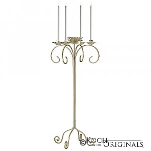 32'' Tall Tabletop Candelabra w/ Flower Bowl - Gold Leaf