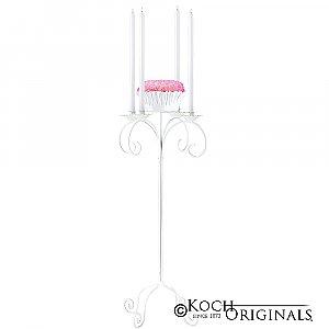 32'' Tall Tabletop Candelabra w/ Flower Bowl - White