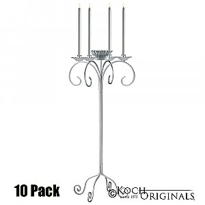 32'' Tall Tabletop Candelabra w/ Flower Bowl - 10 Pack - Frosted Silver