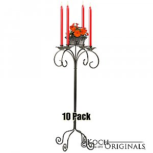 32'' Tall Tabletop Candelabra w/ Flower Bowl - 10 Pack - Onyx Bronze